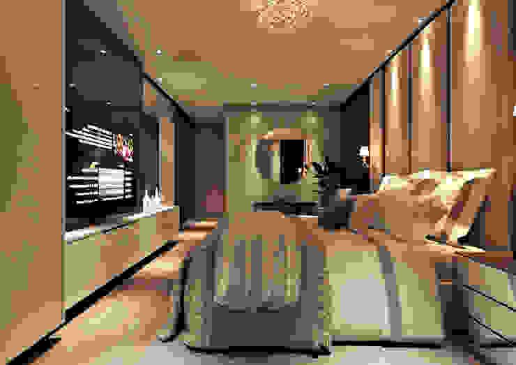 Camera da letto moderna di Flávia Kloss Arquitetura de Interiores Moderno MDF