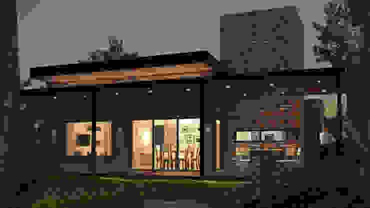 Nocturno con luces prendidas Casas estilo moderno: ideas, arquitectura e imágenes de OX Render Moderno