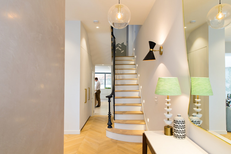Hall - Brook Green London townhouse My-Studio Ltd Pasillos, vestíbulos y escaleras de estilo escandinavo Madera Blanco