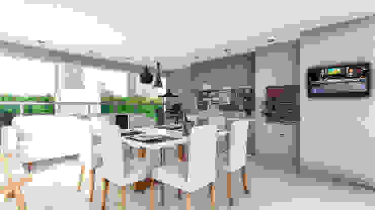 Jantar na Varanda Varandas, alpendres e terraços modernos por Karinna Buchalla Interiores Moderno de madeira e plástico
