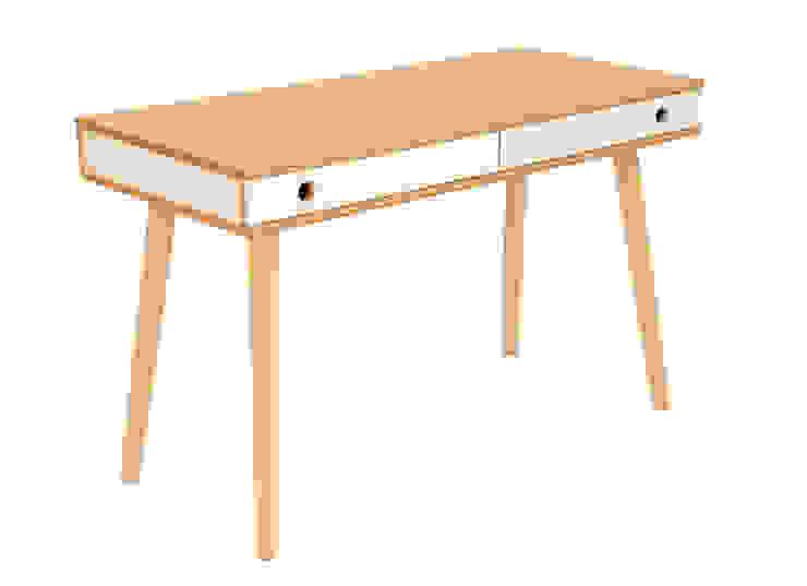 Designer-Schreibtisch MAN in weiß & Holz, 2 Schubladen von Baltic Design Shop Skandinavisch Holz Holznachbildung