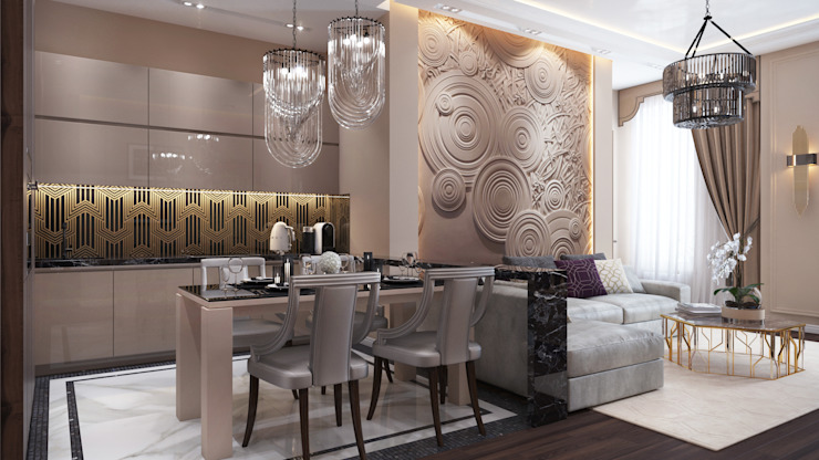Dining room by Архитектурная мастерская Бориса Коломейченко, Eclectic Marble