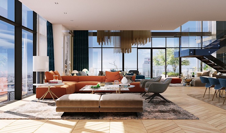 Open space in penthouse unit โดย TOFF (Thailand) Company Limited