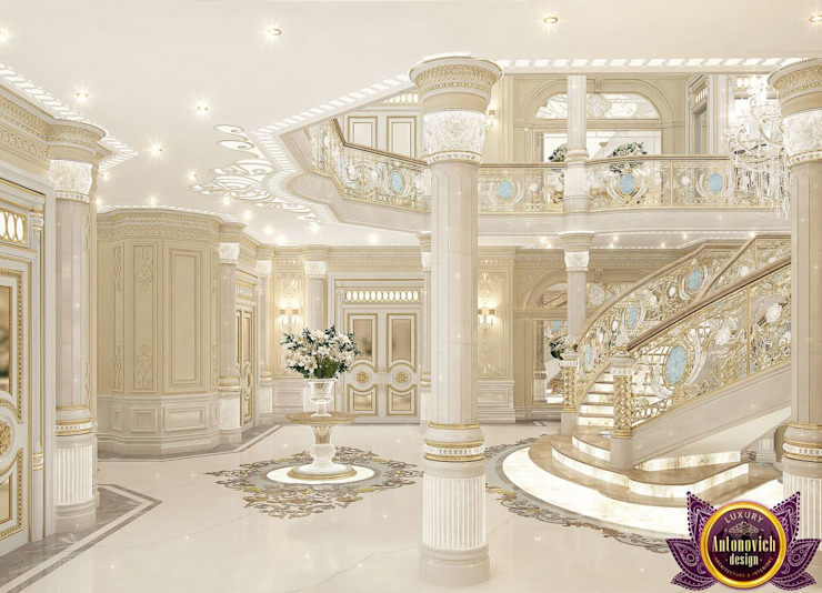 Palace interiors from Luxury Antonovich Design Classic style corridor, hallway and stairs by Luxury Antonovich Design Classic