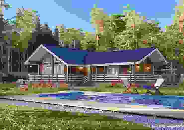 ООО СК 'Строим Дом' Scandinavian style houses Wood Beige