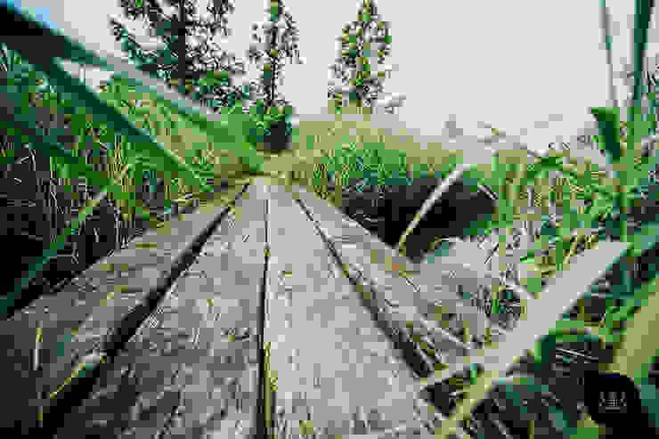 Brug van grove houten palen Landelijke tuinen van Buro Buitenom exterieurontwerpers Landelijk