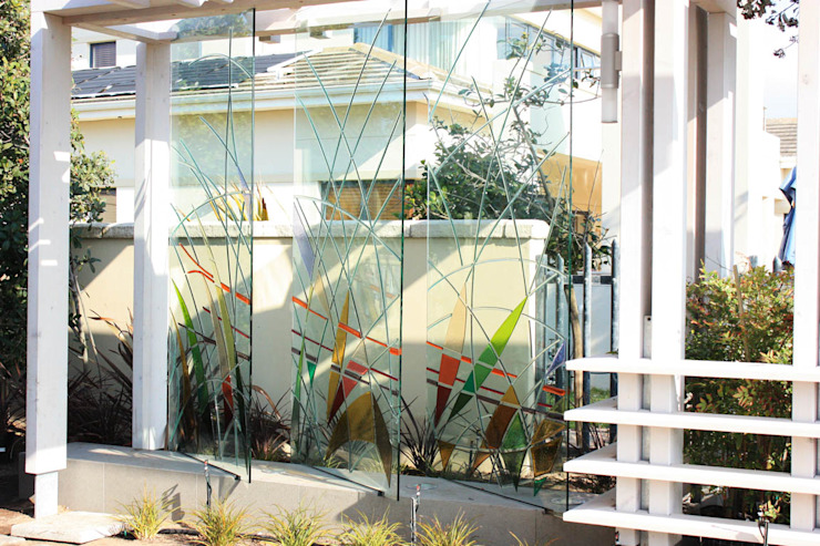Timber Pergola & Glass Fins:  Artwork by Inline Spaces Pty Ltd,