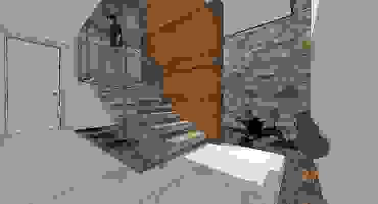 Escalera central Pasillos, vestíbulos y escaleras de estilo moderno de MARATEA estudio Moderno Mármol