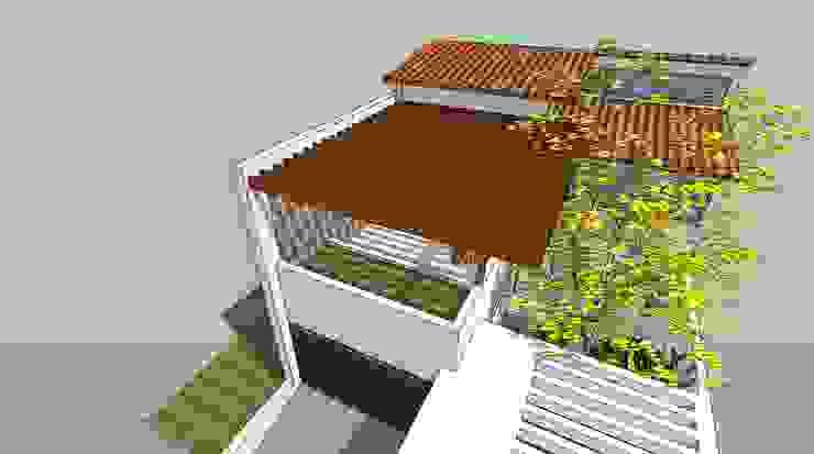 Detalle de pergola de madera Balcones y terrazas de estilo moderno de MARATEA estudio Moderno Madera Acabado en madera