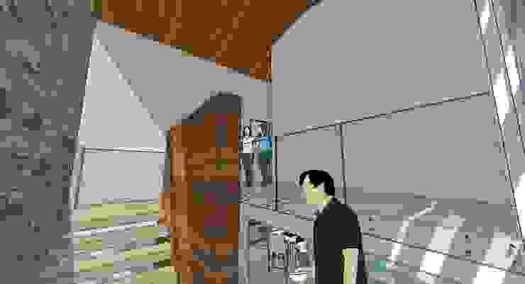 Escalera central Pasillos, vestíbulos y escaleras de estilo moderno de MARATEA estudio Moderno Vidrio