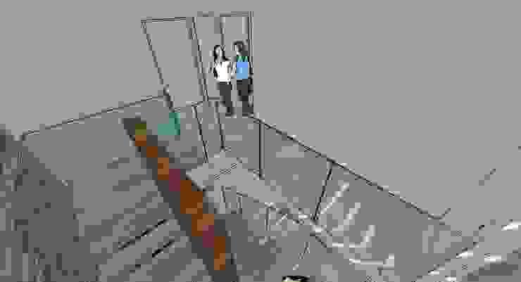 Escalera central Pasillos, vestíbulos y escaleras de estilo moderno de MARATEA estudio Moderno Madera Acabado en madera