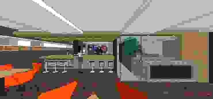 Vista externa de la barra y área de trabajo MARATEA estudio Restaurantes Madera