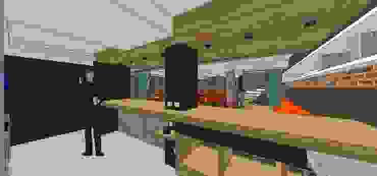 Vista interna de la barra de cafetería MARATEA estudio Restaurantes Madera