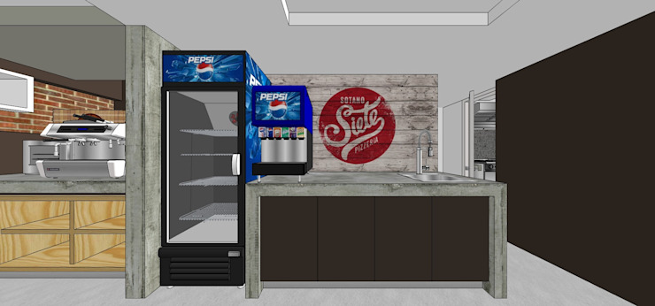 Vista interna de la barra de trabajo MARATEA estudio Restaurantes Concreto reforzado