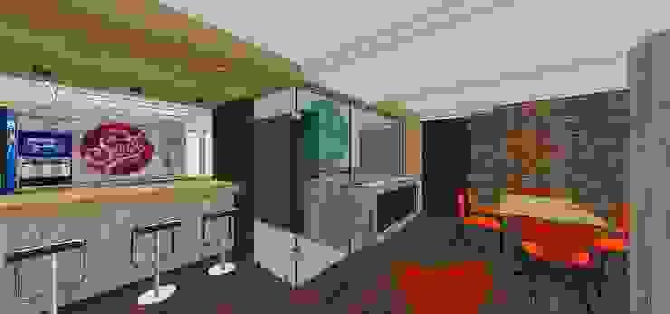 Vista externa del área de preparación y horneado a la leña MARATEA estudio Restaurantes Vidrio