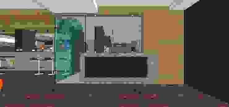 Puerta de vidrio templado y mueble de apoyo externo en concreto armado MARATEA estudio Restaurantes Vidrio