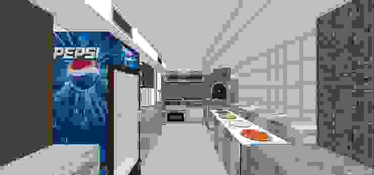 Área de preparación de pizzas y comida MARATEA estudio Restaurantes Concreto reforzado