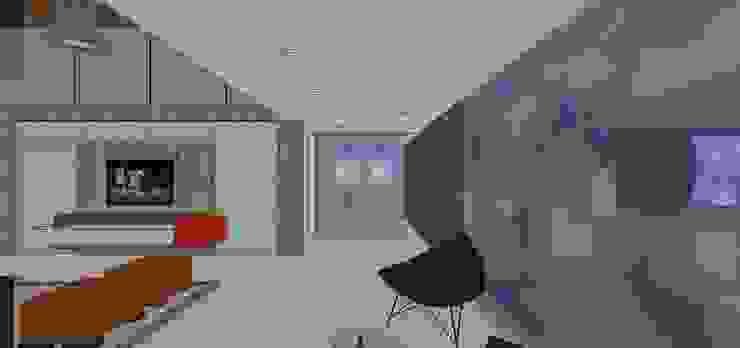 Vestibulo de acceso con estudio al fondo MARATEA estudio Salas de estilo minimalista