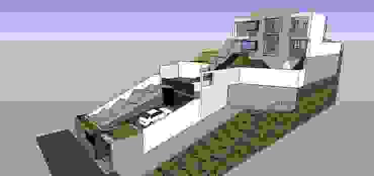Vista externa con cubiertas externas Casas de estilo minimalista de MARATEA estudio Minimalista
