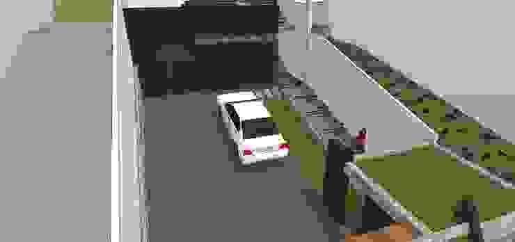 Vista interna del estacionamiento Garajes y galpones de estilo minimalista de MARATEA estudio Minimalista