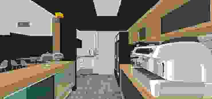 Vista interna de la barra MARATEA estudio Restaurantes Madera