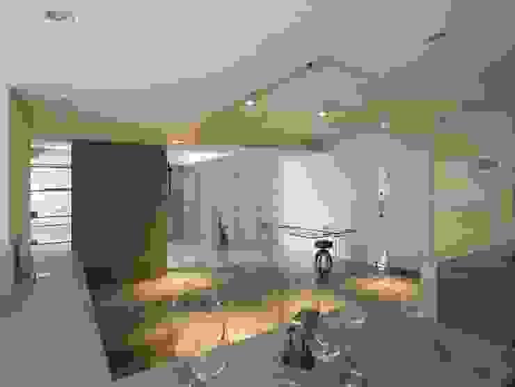 水泥灌鑄的厚實牆體x極薄的玻璃隔間 根據 本晴設計 簡約風