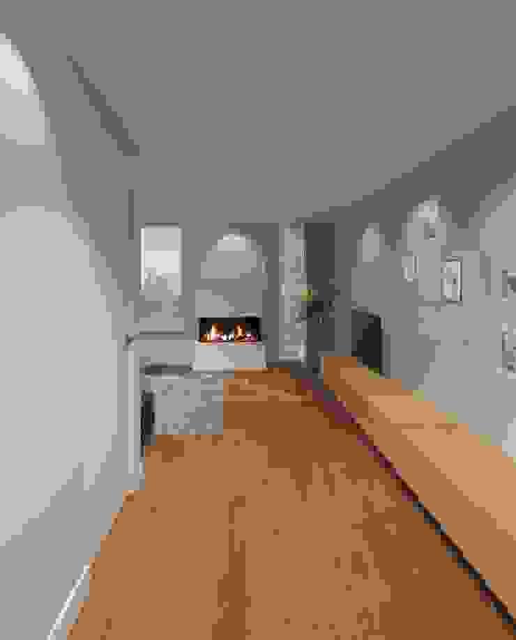 3d impressie 3 woonkamer/haard Moderne woonkamers van Anne-Carien Interieurarchitect Modern