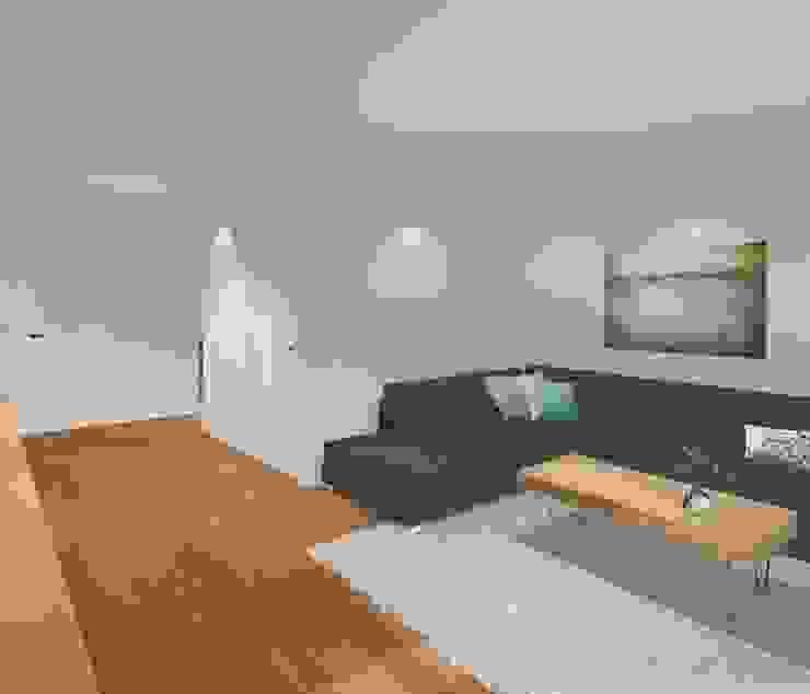 3d impressie 2 woonkamer Moderne woonkamers van Anne-Carien Interieurarchitect Modern