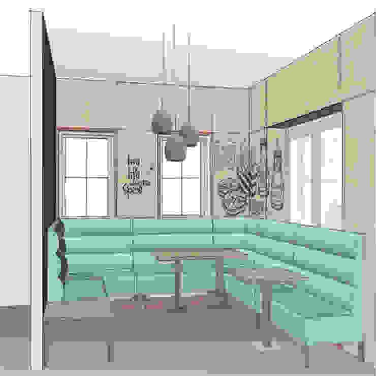 Schets 3d ontwerp snackbar: modern  door Anne-Carien Interieurarchitect, Modern