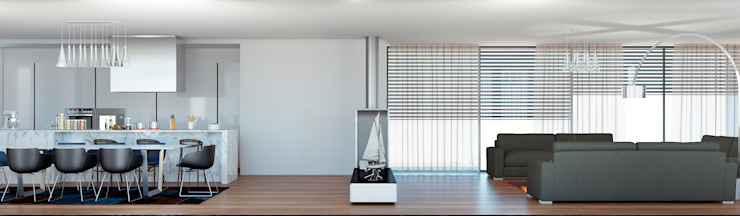 Moradia unifamiliar – Tipologia T4 Esboçosigma, Lda Salas de estar minimalistas