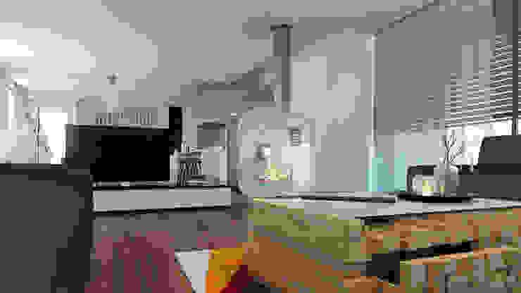 Moradia unifamiliar - Tipologia T4 Salas de estar minimalistas por Esboçosigma, Lda Minimalista