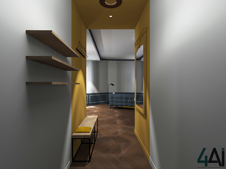 Modern Corridor, Hallway and Staircase by Agence 4ai Modern Solid Wood Multicolored