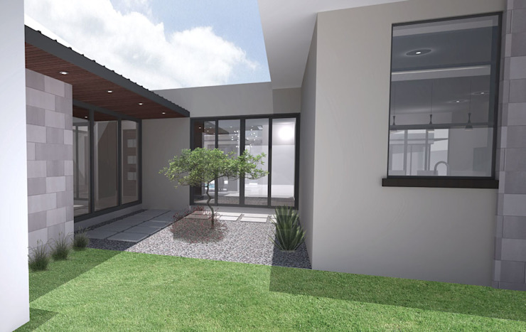 Courtyard Modern style balcony, porch & terrace by A4AC Architects Modern Bricks