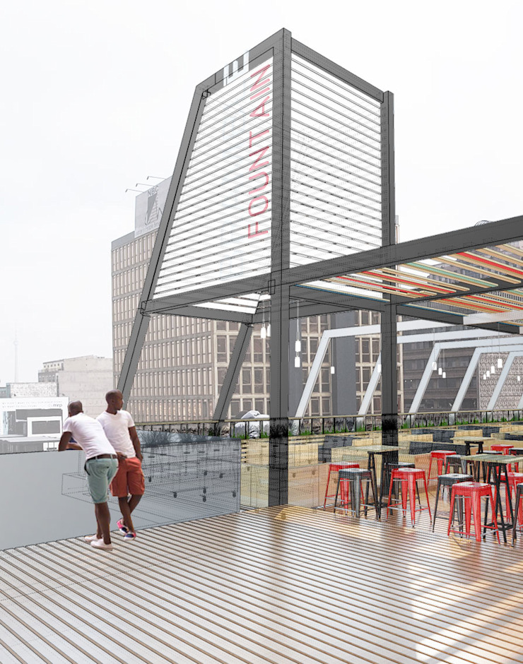 Tower element Modern bars & clubs by A4AC Architects Modern Iron/Steel