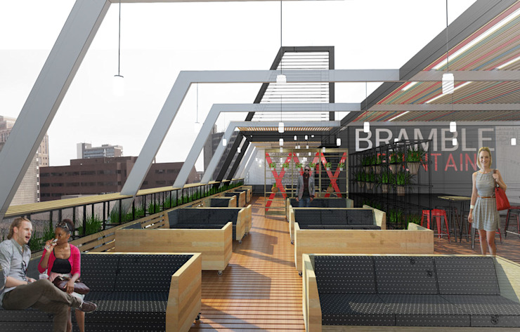 Day view of the deck area Modern bars & clubs by A4AC Architects Modern