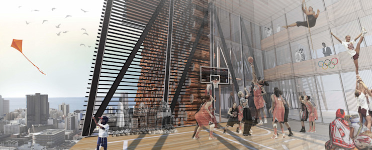 Outdoor sport space by A4AC Architects Modern Wood Wood effect