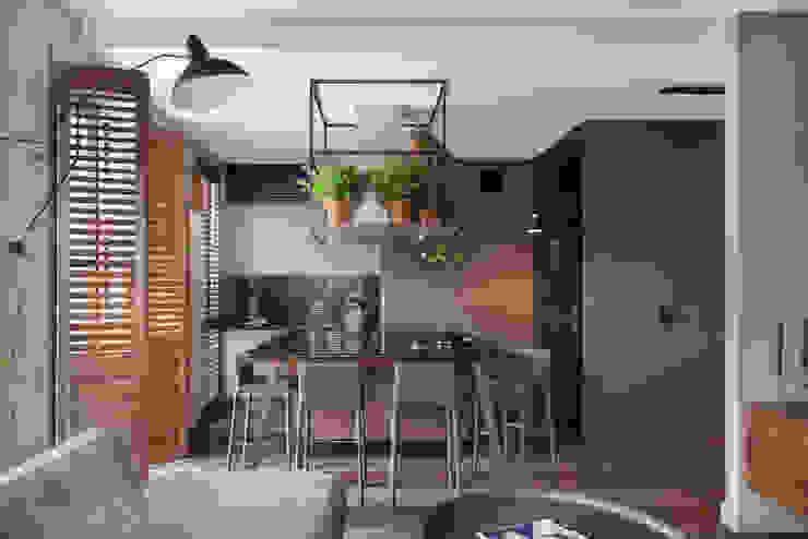 Aneks kuchenny wraz z wyspą: styl , w kategorii Jadalnia zaprojektowany przez JT GRUPA