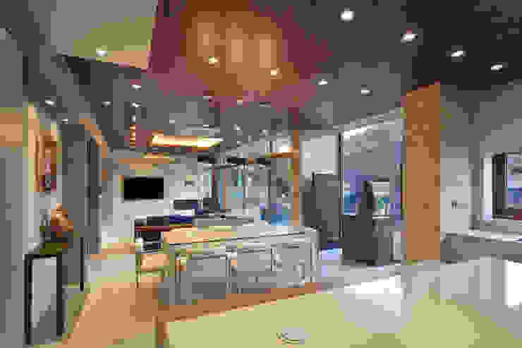 1층 식당 모던스타일 다이닝 룸 by (주)건축사사무소 모도건축 모던 타일