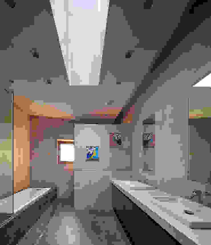 2층 욕실 모던스타일 욕실 by (주)건축사사무소 모도건축 모던 타일