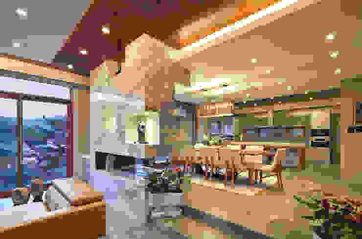 1층 식당과 주방 모던스타일 다이닝 룸 by (주)건축사사무소 모도건축 모던 대리석
