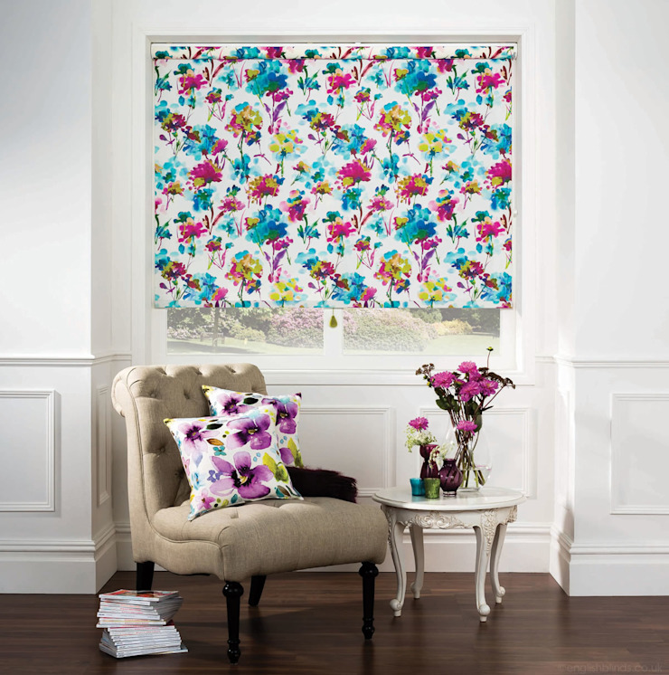 Colourful Azalea Patterned Roller Blinds English Blinds Klasik Tekstil Altın Sarısı