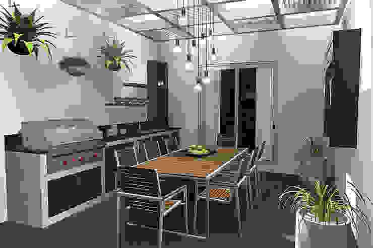 TERRAZA CON PERGOLA Balcones y terrazas modernos de homify Moderno Derivados de madera Transparente