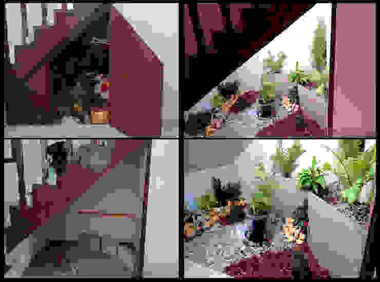 diseño jardin interior .bajo escaleras Pasillos, vestíbulos y escaleras de estilo moderno de 3HOUS Moderno