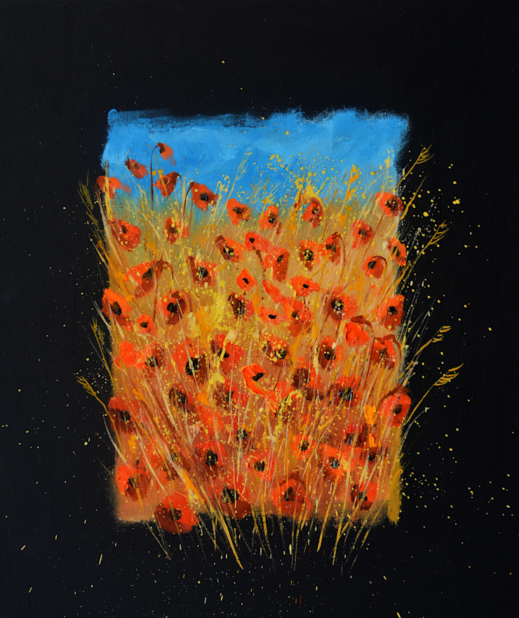 Red poppies 6771: asian  by Indian Art Ideas,Asian