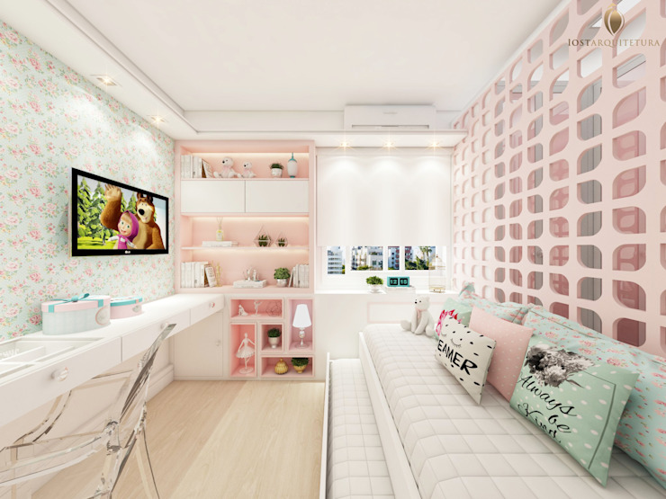 iost Arquitetura e Interiores Small bedroom MDF Pink