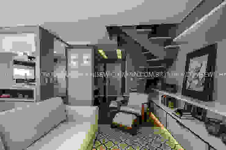 RESIDÊNCIA I O+L Treez Arquitetura+Engenharia Salas de estar modernas MDF Branco
