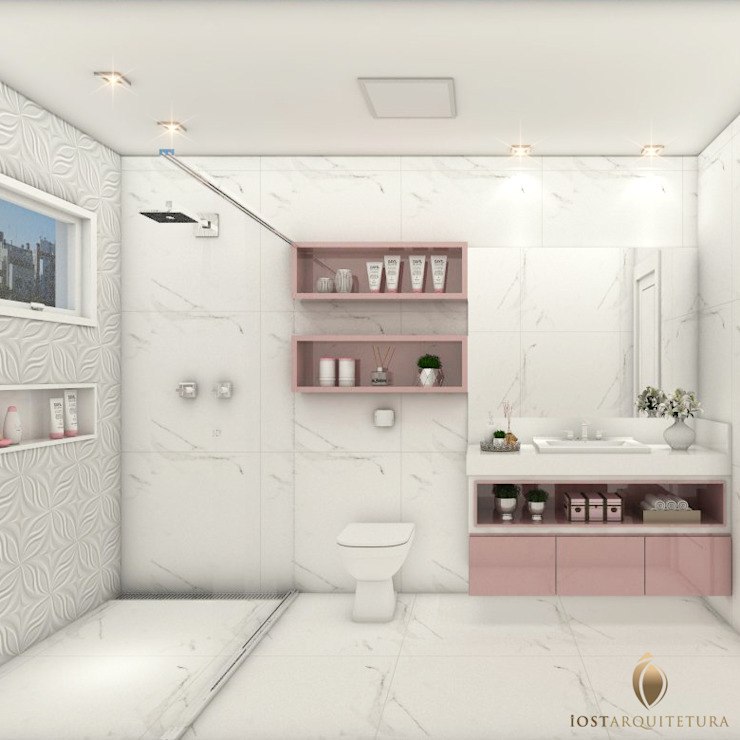 iost Arquitetura e Interiores Baños de estilo moderno Tablero DM Rosa