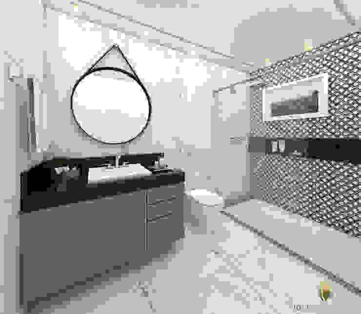 iost Arquitetura e Interiores Ванна кімната Камінь Чорний