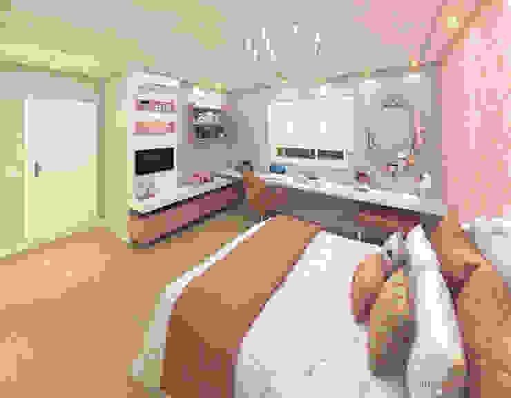 Projeto - Dormitório de Princesa Adolescente em tons de Rosa iost Arquitetura e Interiores Quartos pequenos MDF Rosa