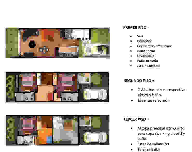 PLANTAS : Habitaciones de estilo  por DG ARQUITECTURA COLOMBIA,